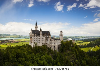 Neuschwanstein Castle is a 19th-century Romanesque Revival palace near Fussen in southwest Bavaria, Germany