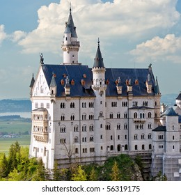 Neuschwanstein Castle, Bavaria, Germany. Close up view.
