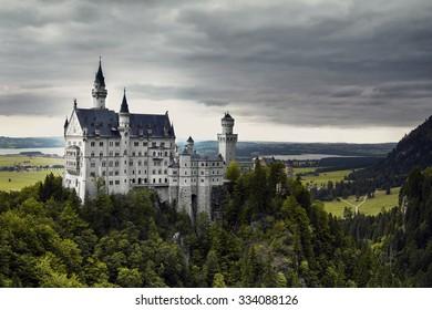 Neuschwanstein Castle in Bavaria, Germany in Summer