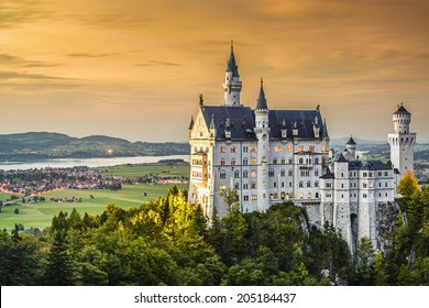 Neuschwanstein Castle in the Bavarian Alps of Germany.