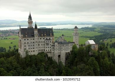 Neuschwanstein Castle. Castle of the Bavarian King Ludwig II, Germany