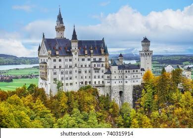 The Neuschwanstein castle in Fussen Germany. Schloss Neuschwanstein. New Swanstone Castle