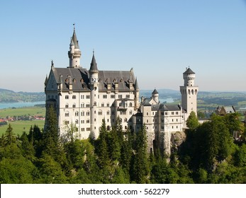 """Neuschwanstein Castle in Germany, built by/for """"crazy"""" King Ludwig II, which inspired the 'Sleeping Beauty' image of castles. It was Walt Disney's inspiration for Cinderella's castle"""