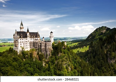 Neuschwanstein Castle in Germany, built for King Ludwig II, which inspired the 'Sleeping Beauty' image of castles. It was Walt Disney's inspiration for Cinderella's castle