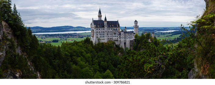 Neuschwanstein castle in Germany, panoramic view in high resolution (120 Mpx)