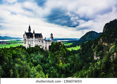 Neuschwanstein castle in Germany in summertime on a coudy day