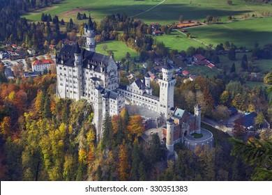 Neuschwanstein Castle, Germany. View of Neuschwanstein Castle during autumn day.