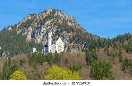 Neuschwanstein castle high in the mountains in the south of Germany