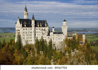 Neuschwanstein Castle from Marienbrucke (Mary Bridge), Bavaria, Germany.