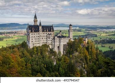 Neuschwanstein Castle in the mid-autumn, Bavarian Alps,Germany.