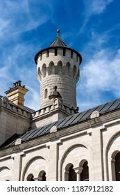 Neuschwanstein Castle (New Swanstone Castle - Schloss Neuschwanstein XIX century), landmark in the Bavarian Alps, Germany. One of the most visited castles in Europe
