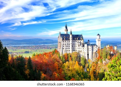 Neuschwanstein Castle is a nineteenth-century palace on a rugged hill above the village in Fussen Bavaria, Germany. Neuschwanstein is one of the most popular of all the palaces and castles in Europe.