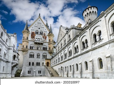 Neuschwanstein Castle. Nineteenth-century Romanesque Revival palace in southwest Bavaria, Germany.