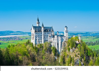 Neuschwanstein Castle panoramic view in Germany.