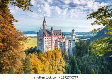 Neuschwanstein castle, romantic summer landscape panorama picture of the fairy tale castle near Munich in Bavaria, Germany