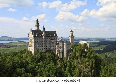 Neuschwanstein Castle, royal palace in the Bavarian Alps of Germany, the most famous of three royal palaces built for Louis II of Bavaria