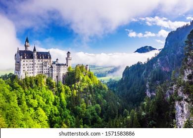 Neuschwanstein Castle (Schloss Neuschwanstein) in Fussen, Germany. - Shutterstock ID 1571583886