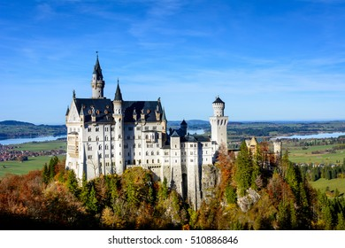 Neuschwanstein Castle (Schloss) is one of a world famous castles. View from the bridge (Marienbruecke)