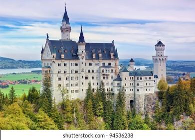 Neuschwanstein Castle in Schwangau, Germany.