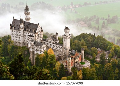 Neuschwanstein Castle shrouded in mist in the Bavarian Alps of Germany.