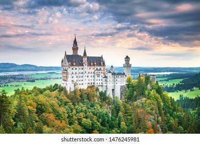 Neuschwanstein castle - summer landscape panorama picture of the fairy tale castle near Munich in Bavaria, Germany