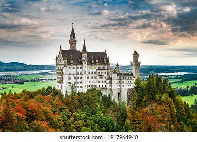 Neuschwanstein castle, summer landscape  picture of the fairy tale castle near Munich in Bavaria, Germany