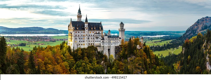 Neuschwanstein castle in a summer night in Germany
