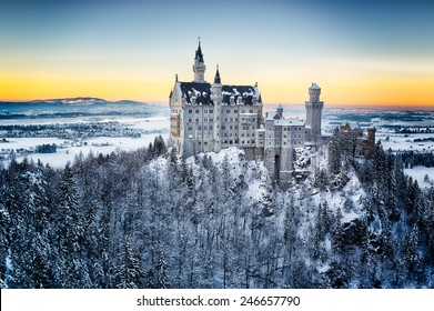 Neuschwanstein Castle at sunset in winter landscape. Germany
