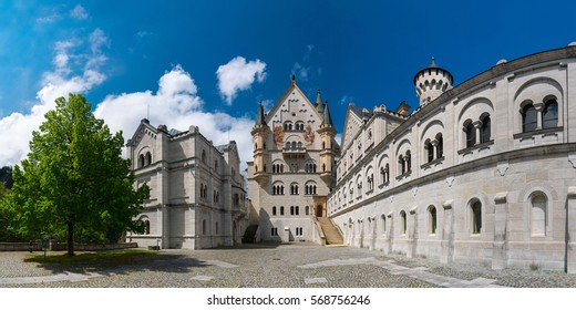 Neuschwanstein Castle. View from location of unrealized chapel along upper courtyard level: Bower, palace front, and Knights' House