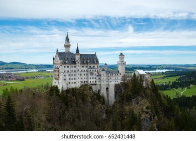 Neuschwanstein castle, view from Marienbrucke bridge, the famous viewpoint in Fussen, Germany
