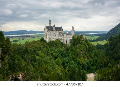 neuschwanstein castle view from the mary's bridge. The castle is located in schwangau and is one of the most popular castles in germany.