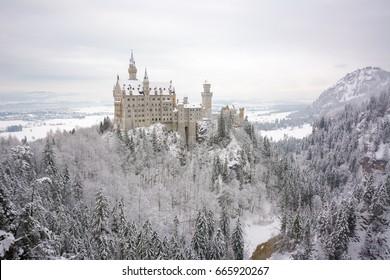 neuschwanstein castle view on snowy day