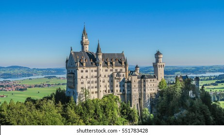 Neuschwanstein Castle view in summer, Fussen, Bavaria, Germany,  beautiful landscapes and buildings, fairy palace