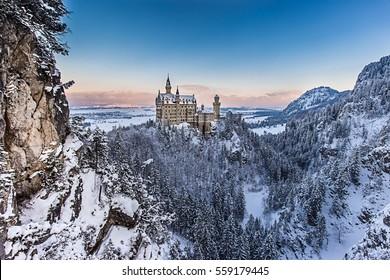 Neuschwanstein castle at winter morning, Bavaria, Germany.