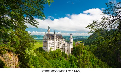 Neuschwanstein, Lovely Summer Landscape Panorama Picture of the fairy tale castle near Munich in Bavaria, Germany