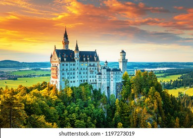 Neuschwanstein, summer landscape panorama picture of the fairy tale castle near Munich in Bavaria, Germany
