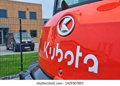 Neuss, Germany: June 20.2019: View of an Kubota excavator logo
