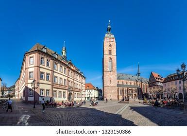NEUSTADT, GERMANY - FEB 25, 2019: View of Neustadt town. Neustadt-an-der-Weinstrasse - town in Rheinland-Pfalz, heart of German Wine Road (Deutsche Weinstrasse).