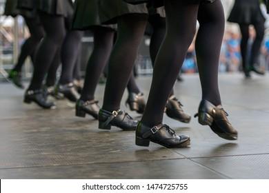 Neustadt in Holstein, Germany - August 03, 2019, European Folklore Festival, Ann Carney School of Dance. traditional dance, Set-Dancing, Irish folk dance in contemporary, black Irish dancing shoes