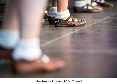 Neustadt in Holstein, Germany - August 03, 2019, European Folklore Festival, Karpaty, folk dance dancers from Bratislava Slovakia. traditional old dance shoes made of leather
