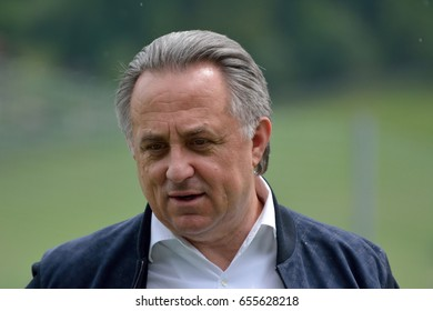 NEUSTIFT IM STUBAITAL, AUSTRIA - JUNE 2, 2017. Russian politician Vitaly Mutko, who serves as Deputy Prime Minister of Russia, in outdoor setting.