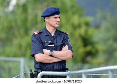 Neustift, Tirol, Austria - May 25, 2018. Austrian policeman on duty.