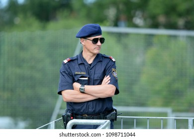 Neustift, Tirol, Austria - May 25, 2018. Austrian policeman on duty.