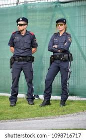 Neustift, Tirol, Austria - May 25, 2018. Two Austrian policemen on duty.