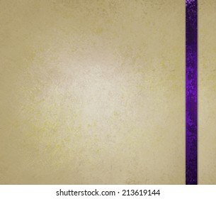 neutral beige or off white background with purple ribbon trim accent