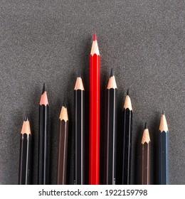 Neutrale Farbstifte und ein roter Bleistift vor allem