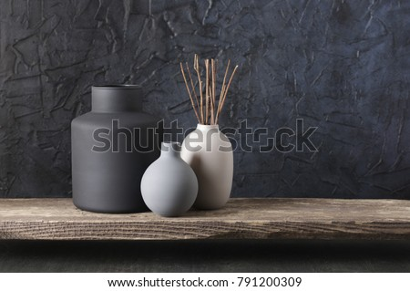 Neutral Colored Vases Wood Sticks On Stock Photo Edit Now