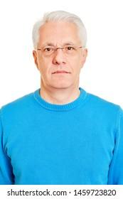Neutral face of senior as biometric passport photo