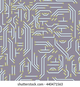 Neutral hi-tech seamless pattern - circuit computer board for your backdrop. Science technology background with motherboard pattern.