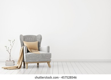 Neutral interior with velvet armchair on empty white wall background. 3D rendering.